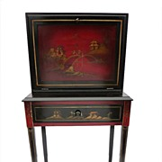 Oriental Hand-Painted Secretary