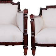 Pair of Mahogany English Fireside Chairs C. 1920