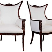 Rare Pair of Regency Fireside Chairs