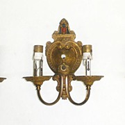 Set of Three Victorian Ornate Bronze Sconces
