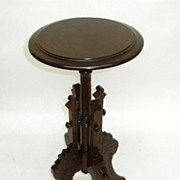 Victorian Walnut Candle Stand w Beautiful Detail