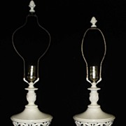 Pair of White Regency Lamps, c. 1930