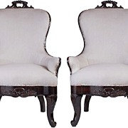 Pair of Rosewood Victorian Parlor Chairs, c. 1870