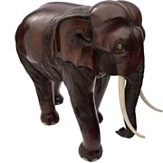 Decorative Rosewood Hand-Carved Elephant, 19th C.