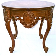 Stunning French Walnut Side Table w Inlay Marquetry