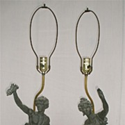 "Pair of signed ""CH. LEVY"" sculpture lamps, 1930"