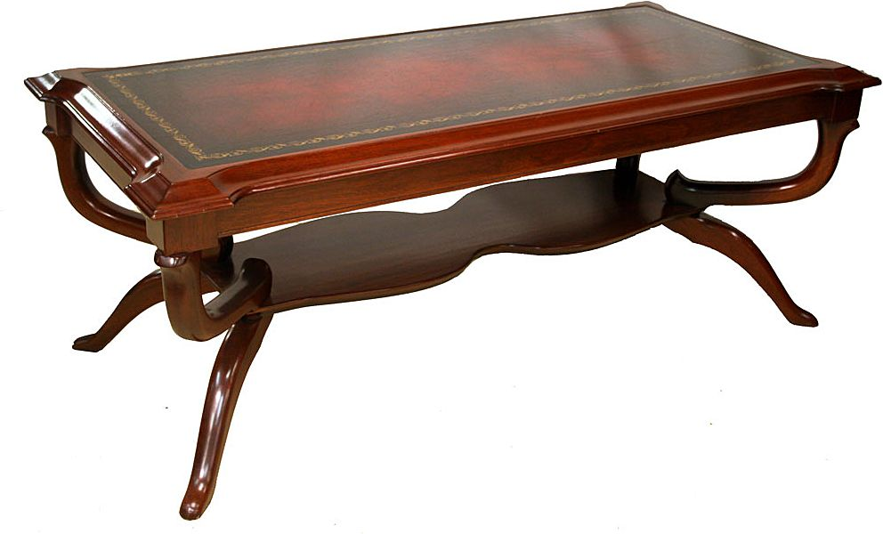 American Regency Style Mahogany and Leather Top Coffee Table c. 1920's