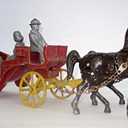 Vintage Cast Aluminum Horse & Carriage USA