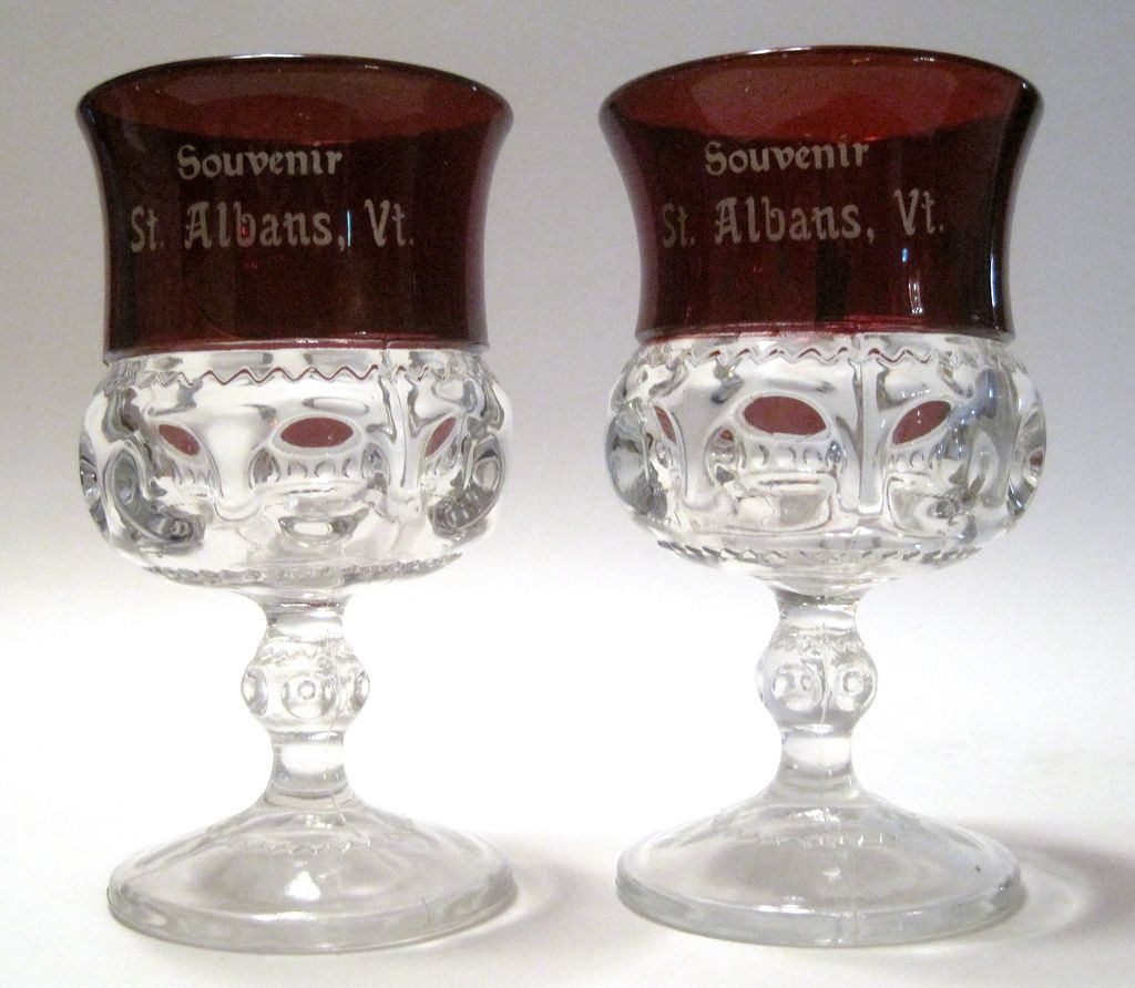 Ruby Stained Two Original Kings Crown Goblets St. Albans Vt