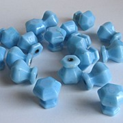 Vintage Twenty One Opaque Chalaine Blue Glass Drew Pulls