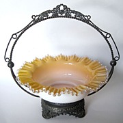Antique Brides Basket Art Glass And Silverplate