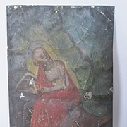 Antique Painting Mexican Retablo St. Jerome