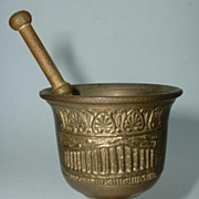 Mini Bronze Mortar & Pestle Embossed Ancient Greek Building