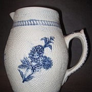 Whites Utica Blue & Gray Stoneware Pitcher Gesundheit