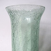Vintage High Quality Footed Light Green Crackle Glass Vase