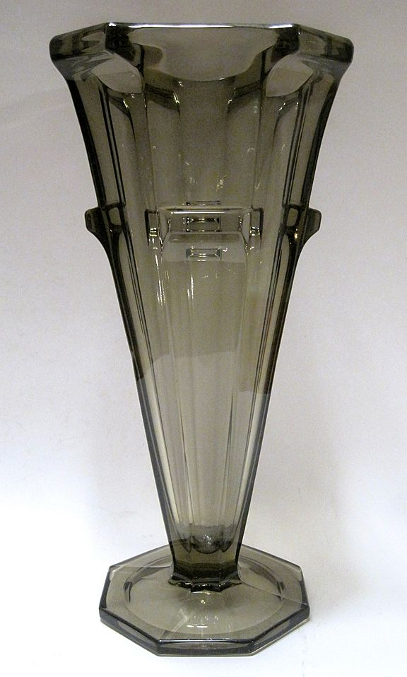 1930's Large Smoke Glass Art Deco Vase