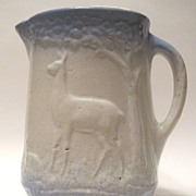 Blue & White Stoneware Pitcher Doe And Fawn