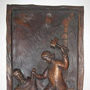 Antique Bas Ralief Wood Carved Plaque Of Santos Carver