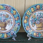 Pair Antique  Spanish Majolica Wall Chargers Signed Montalvan Triana