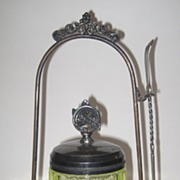 Victorian Silver Plate Pickle Castor And Vaseline Glass Jar