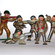 Eight Old Lead Toy Soldiers 1950's