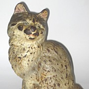 Vintage Cast Iron Persian Cat Doorstop