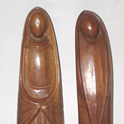 Two Carved Wood 1950's -60's Stylized Religious Santos Figures