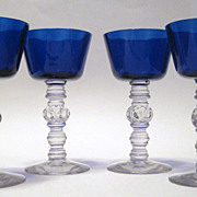 Heisey Cobalt Blue Four Cocktail Goblets