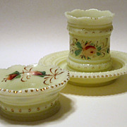Three Pieces Signed Heisey Custard Glass