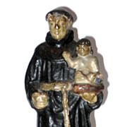 Antique Terra Cotta Statue Of St Anthony And Baby Jesus