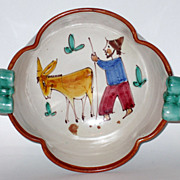 Italian Pottery Bowl 1940's Signed CAS Man With Donkey