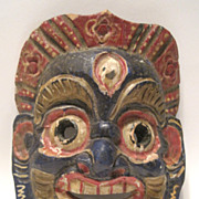 Vintage Colorful Hand Carved Wooden Mask Mexico Latin America