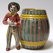 Two 1930's Large Italian Majolica Mugs Colorful Figural Handles