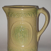 SOLD Vintage Green & Yellow Stoneware Pitcher With Cows