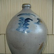 Antique Blue Floral Ovoid Stoneware Jug Chollar Cortland