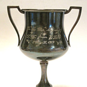 Judaica Engraved 1919 Bar Mitzvah Footed Kiddush Cup
