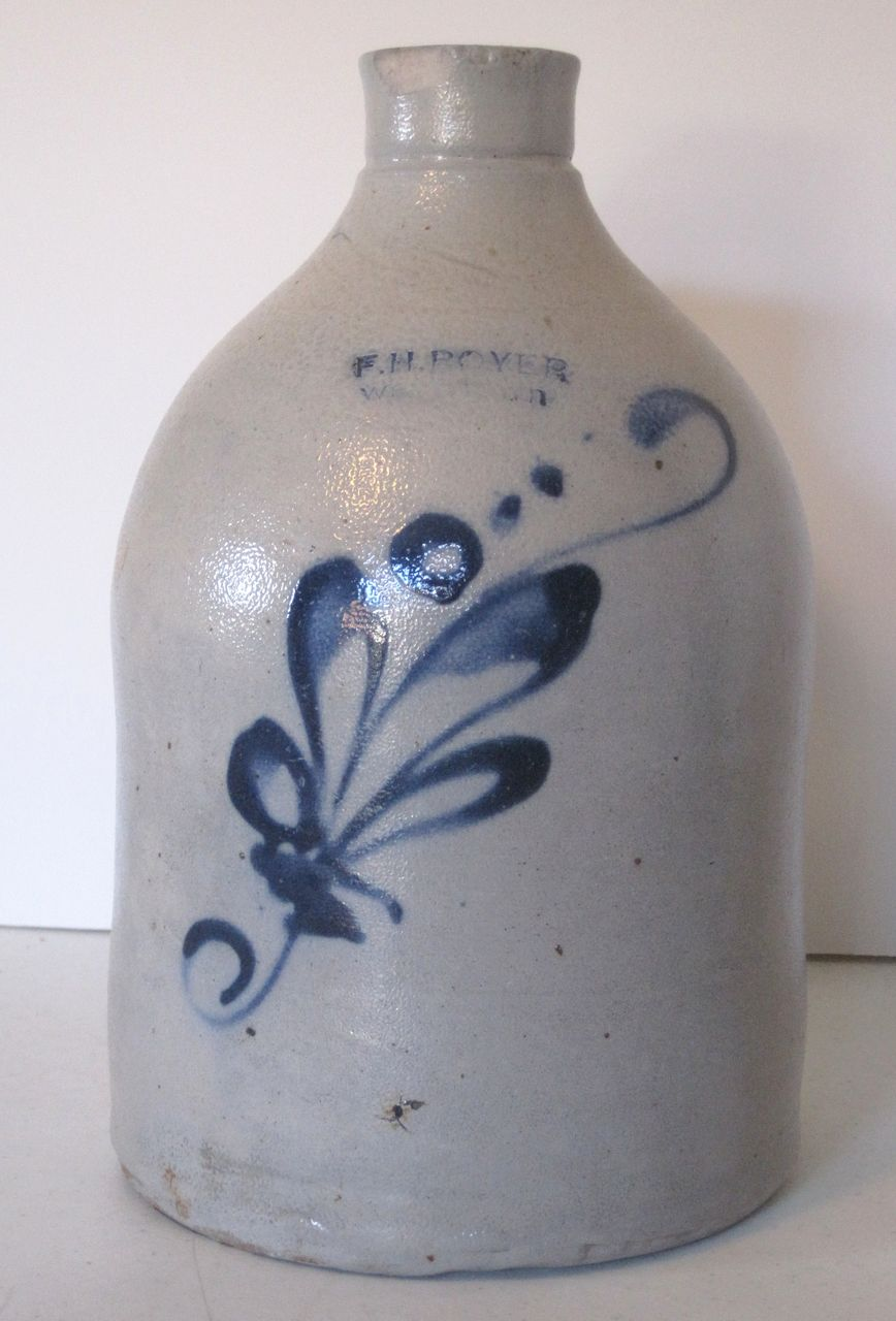 Antique Cobalt Blue Decorated Stoneware Jug