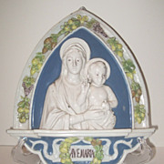 Della Robbia Ave Maria Plaque Holy Mary & Jesus Signed Cantagalli