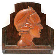 Art Deco Carved Wood Ladies Profile Plaque