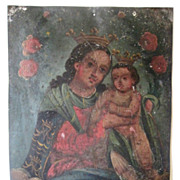 Antique Painting Mexican Retablo Mother And Child