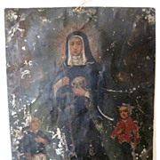 Antique Painting Mexican Retablo St. Rita
