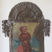 Antique Painting Mexican Retablo St Francis de Paula It Tin Frame