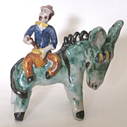 1930's Vintage Italian Majolica Colorful Figurine Man On Donkey