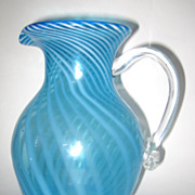 South Jersey Blue Opalescent Glass Pitcher