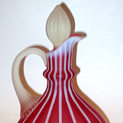 Fenton Satin Cranberry Opalescent Cruet