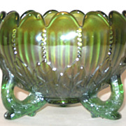 Northwood Leaf And Beads Carnival Glass Green Rose Bowl