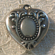 Vintage C1940�s Sterling Beaded Repousse Puffy Heart Charm-Inscribed D.M.