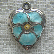 SALE Vintage C1940's Sterling Enamel Aqua Pansy Puffy Heart Charm