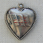 Vintage C1940�s Sterling Beaded Enamel American Flag Puffy Heart Charm-Inscribed