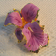 SALE Vintage C1982 Cerrito Lavender Enamel Orchid Brooch/Pin